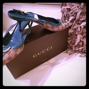 Gucci signature pump sz 8.5 tan & teal blue